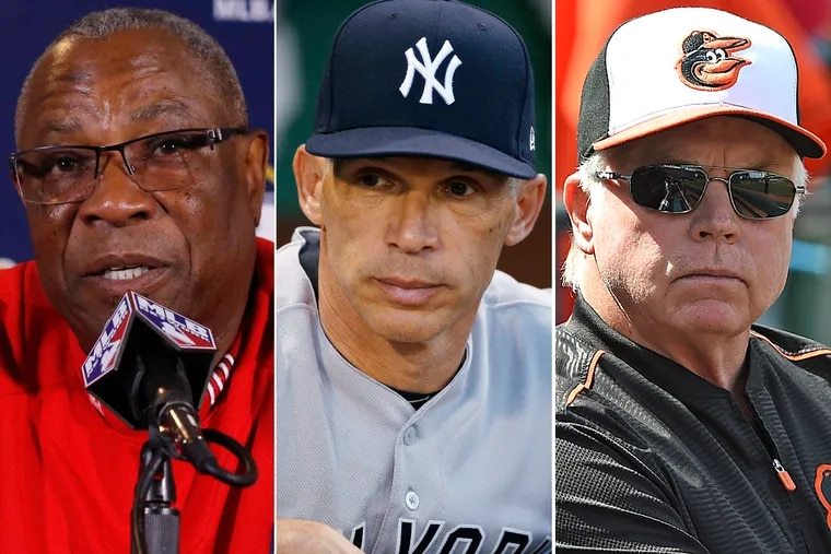 Managerial candidates (from left) Dusty Baker, Joe Girardi and Buck Showalter.