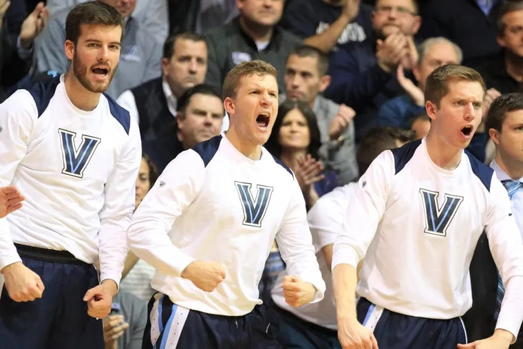 The Villanova bench cheers after a teammate drew a foul.