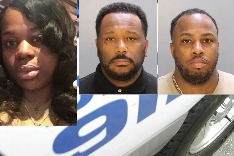 Joyce Quaweay (left), 24, was beaten to death July 29, 2016, in the Germantown home that she shared with her then-boyfriend, Aaron Wright (middle), and his friend, Marquis Robinson (right), who was also their housemate. Both men are former Temple University police officers and are on trial in Quaweay's death.