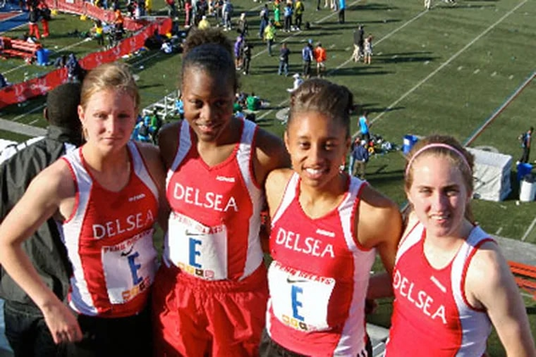The Delsea girls' 4x400 relay team, from left: Brianna Crofton, Lateaque Jackson, Ashley Woodards, Felicia O'Donnell.