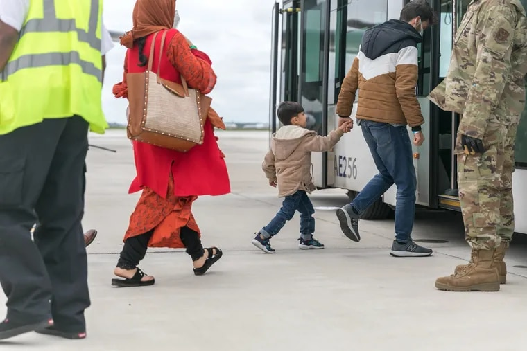 Images from the City of Philadelphia show the arrival operations for Afghan evacuees at Philadelphia International Airport last month.