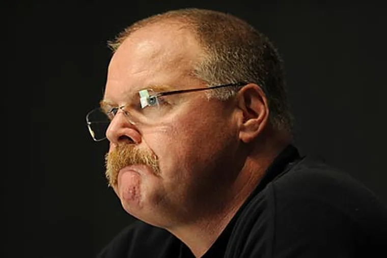 """""""I'll give you what I want to give you,"""" Andy Reid said at Monday's press conference. (Sarah J. Glover/Staff Photographer)"""