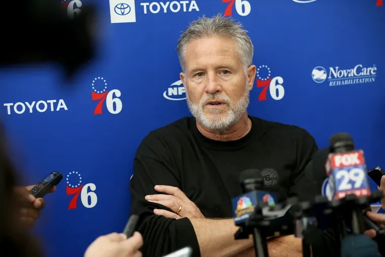 Sixers head coach Brett Brown talks to reporters during practice at the Sixers Training Complex in Camden, N.J., on Saturday, Sept. 22, 2018.