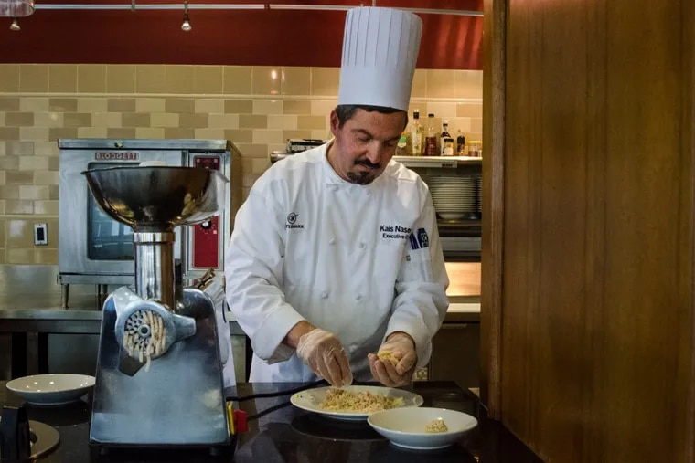 Chef Kais Naseery of the Watermark at Logan Square demonstrates how to turn a chef's salad into finger food.