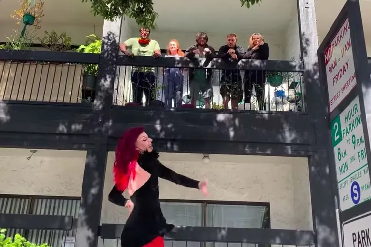 """A drag queen performs in San Francisco as part of Oasis's """"Meals on Heels"""" service."""