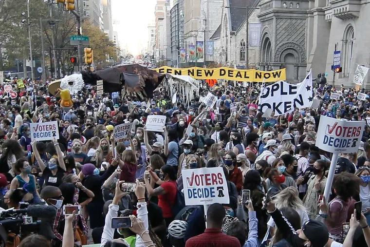 A huge crowd celebrates at City Hall in Philadelphia on Nov. 7, after Joe Biden was declared president-elect.