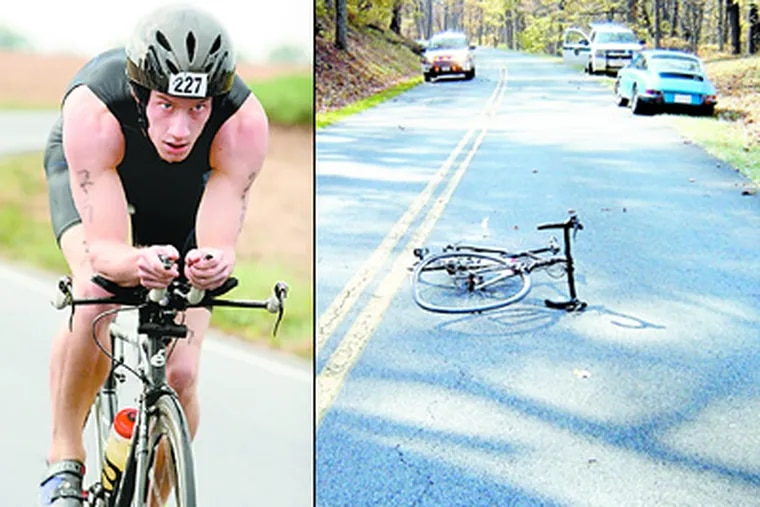 Left: Matt Miller at a Virginia triathlon in September. At right, Matt's racing bike, Black Beauty, crumpled on the Blue Ridge Parkway in Virginia hours after he lost control and slammed into an oncoming Porsche, parked at right.