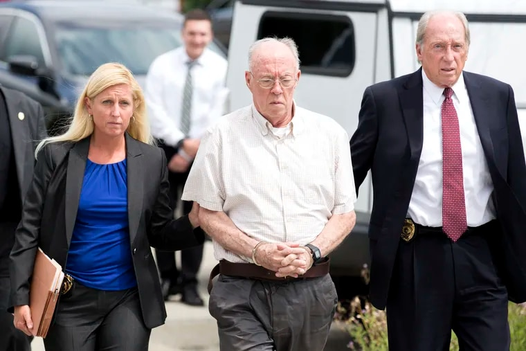 The Reverend John T. Sweeney, center, pleaded guilty Tuesday in Westmoreland County to sexually abusing a fourth grader. The state attorney general is days away from releasing an investigative report about 300 alleged abusers just like him. And yet, only a few have ever faced criminal charges through the years in this state.