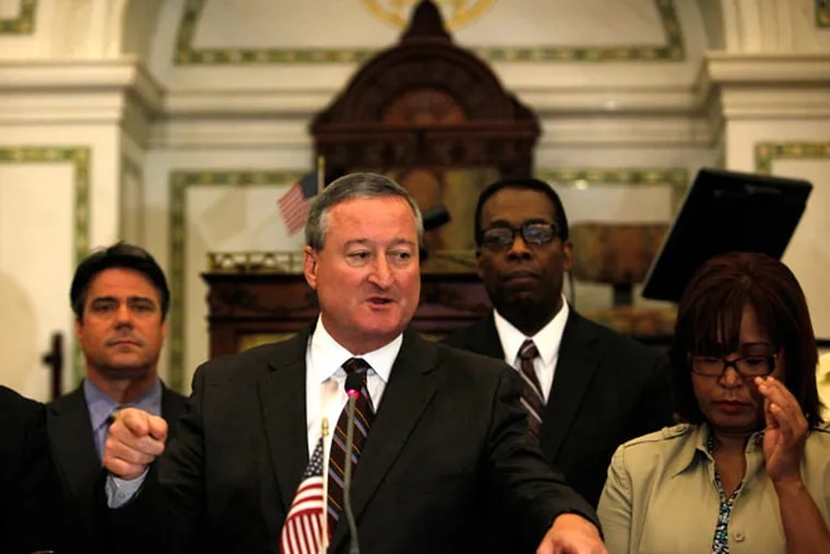 """FILE: Councilman James F. Kenney (center) defends the new special committee that has been created to conduct a """"broad review"""" of procedures surrounding construction, demolition, licenses and permits related to the June 2013 Market Street building collapse. (LUKE RAFFERTY/Staff Photographer)"""