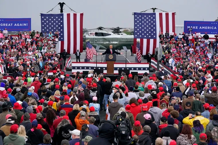 President Donald Trump addresses a campaign rally at the Altoona-Blair County Airport in Martinsburg, Pa, Monday, Oct. 26, 2020.