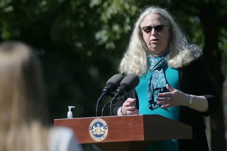Pennsylvania Secretary of Health Dr. Rachel Levine speaks during a news conference about the coronavirus in Philadelphia's Franklin Square on Tuesday, Sept. 22, 2020.