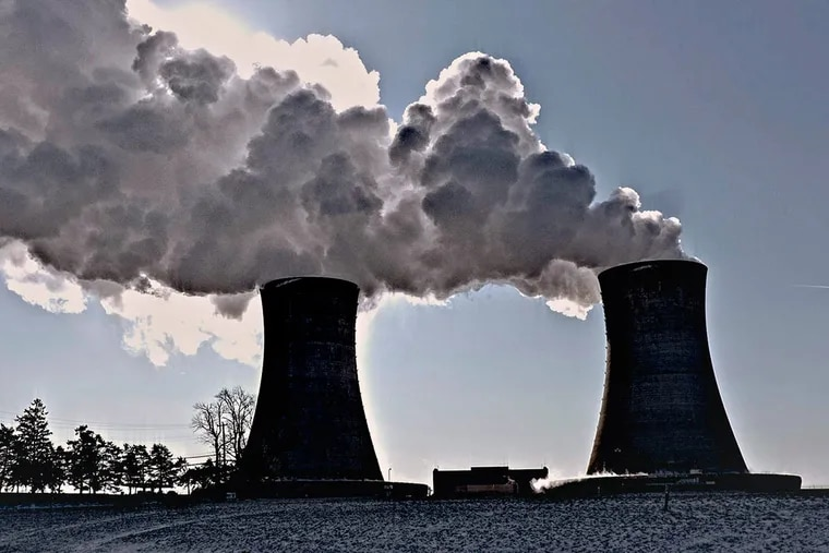 The cooling towers of Exelon Generation's Limerick nuclear power plant in Montgomery County.