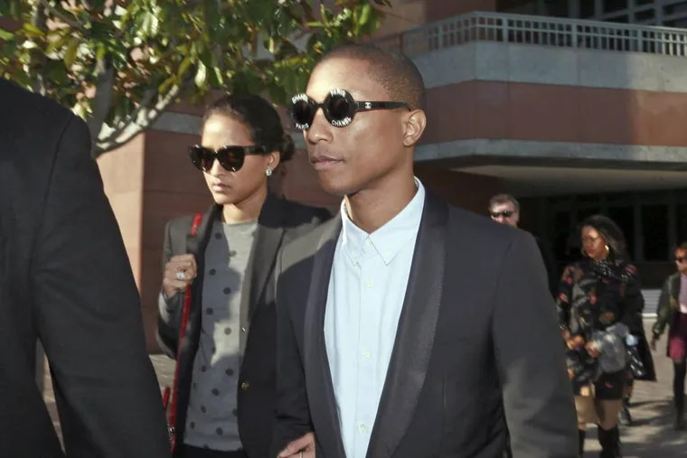 """Pharrell Williams, leaving federal court last week after testifying at trial,   was found with Robin Thicke to have infringed on the copyright of the Marvin Gaye song """"Got to Give it Up"""" for their hit """"Blurred Lines."""""""