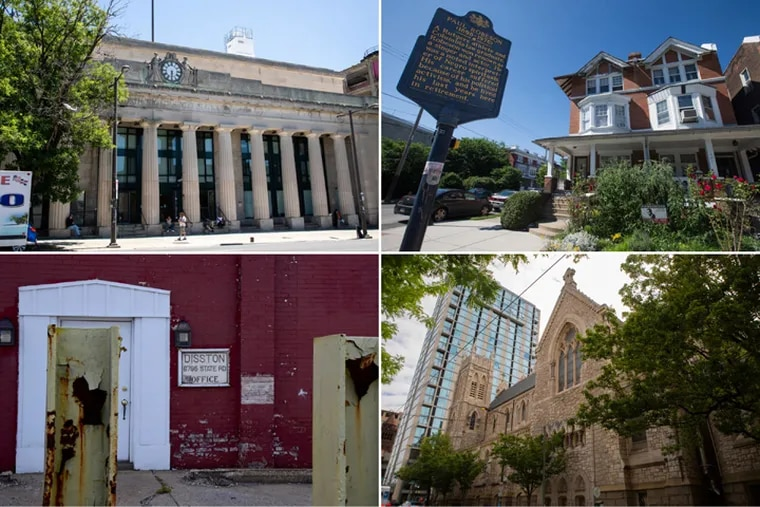 Clockwise from top left: North Broad Station, the Paul Robeson House, St. Agatha-St. James Church, and the Disston Saw Works.