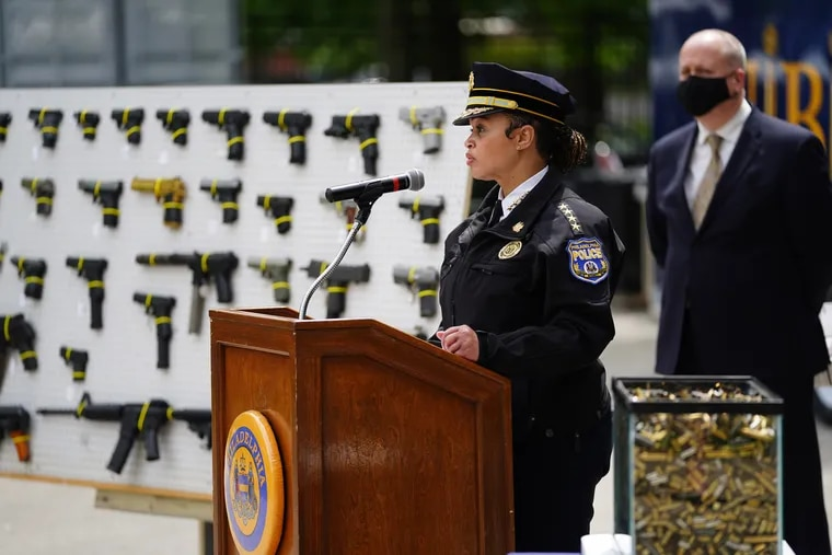 """Police Commissioner Danielle Outlaw answers questions from the media at a press conference at the Philadelphia Police Department Office of Forensic Science on May 7, 2021. She said Wednesday that she and District Attorney Larry Krasner """"just don't agree"""" on which crimes to prioritize in order to prevent shootings."""