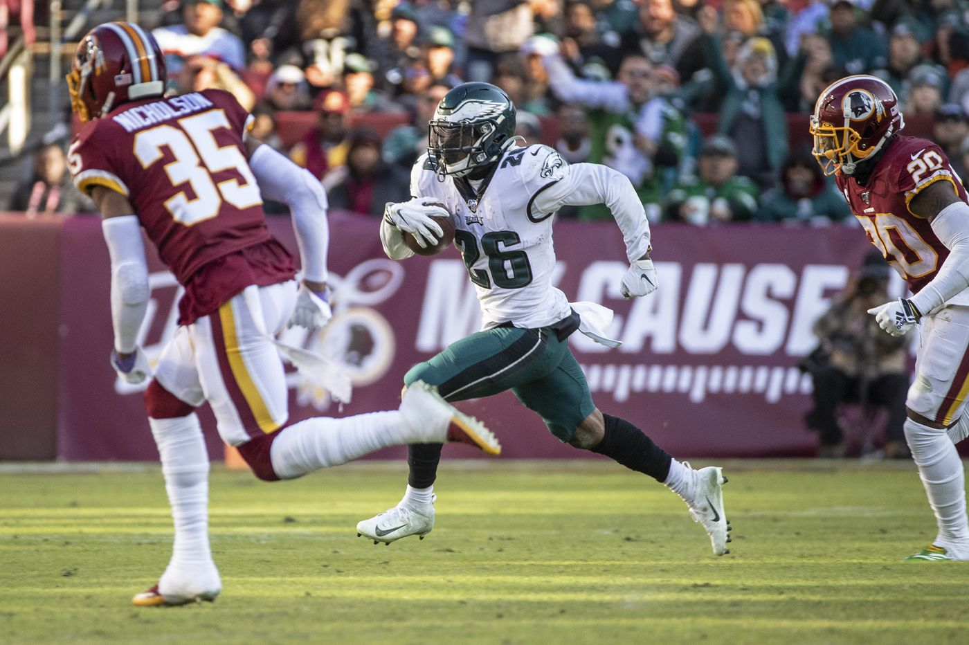 Eagles' Miles Sanders, not a rookie anymore in NFL years, sets team records with over 100 yards in win   Jeff McLane