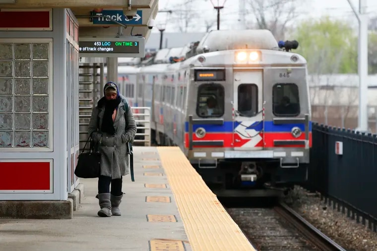 The Elwyn Regional Rail train pulls into Temple University Station. SEPTA wants to increase the frequency of Regional Rail service and integrate its transit network in the city.