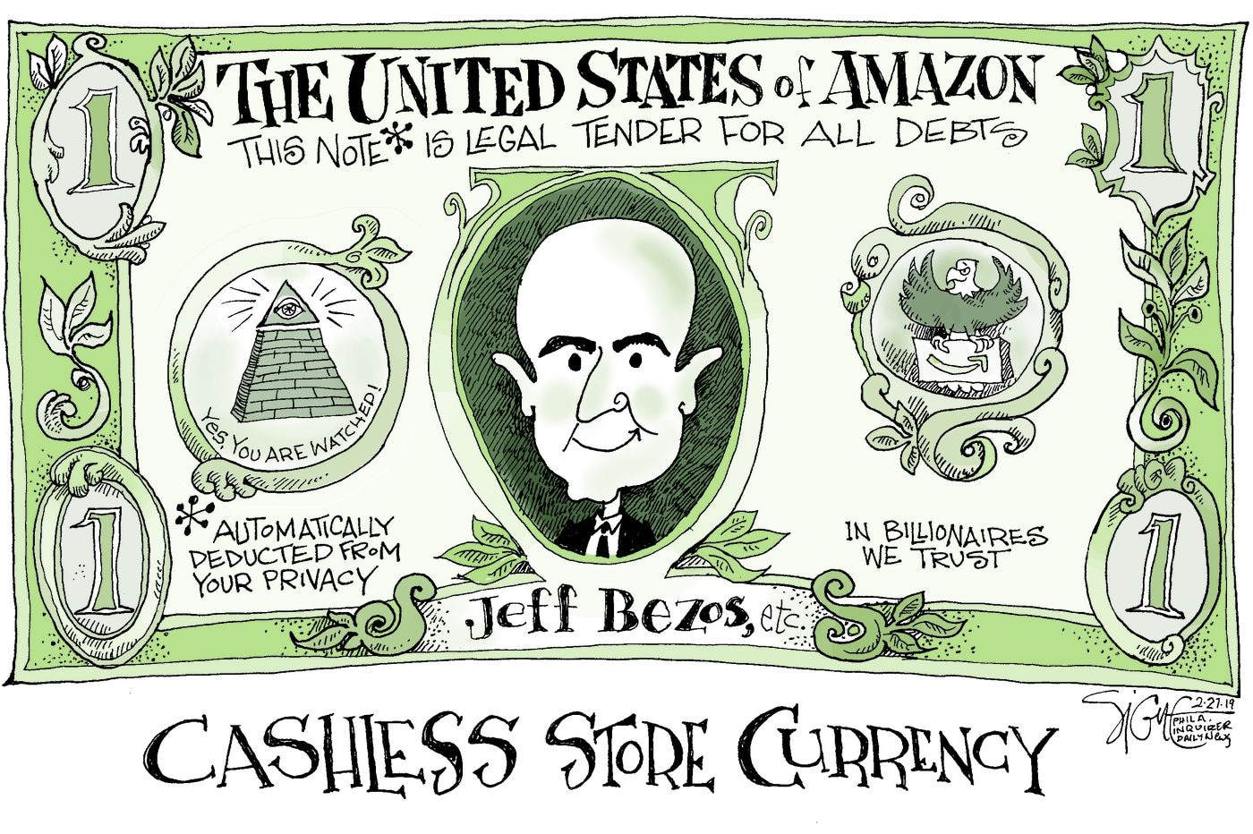 Title:  Cashless Store Currency.  Image:  Dollar bill bearing Jeff Bezos's face and headed