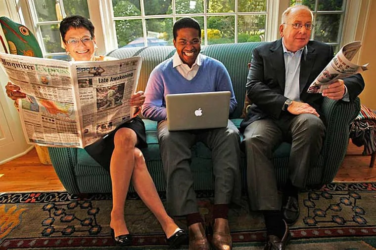 Joan Mazzotti relaxes at home in Haverford with Ralph Alexis and her husband, Michael Kelly.  ALEJANDRO A. ALVAREZ / Staff Photographer