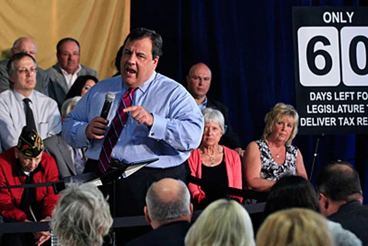 Gov. Christie says New Jersey is doing well enough that he wants a tax break for everyone, brushing aside critics who say his revenue projections are too rosy. (Mel Evans/AP)