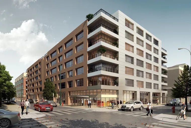Artist's rendering of apartment building planned for city-owned site at 11th and Reed Streets that developer Alterra Property Group plans to acquire.