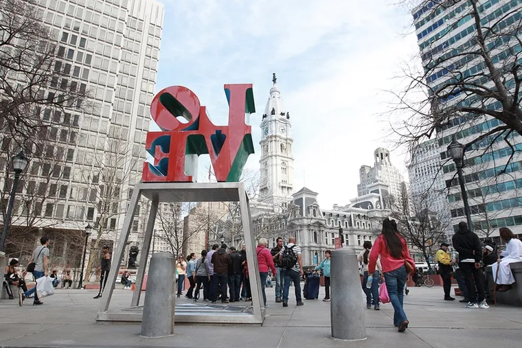 Love Park statue looking toward City Hall.