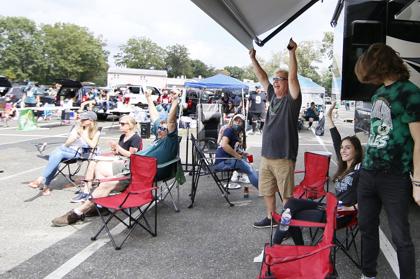 Tailgating isn't allowed at Eagles games, but these fans have come up with some alternatives