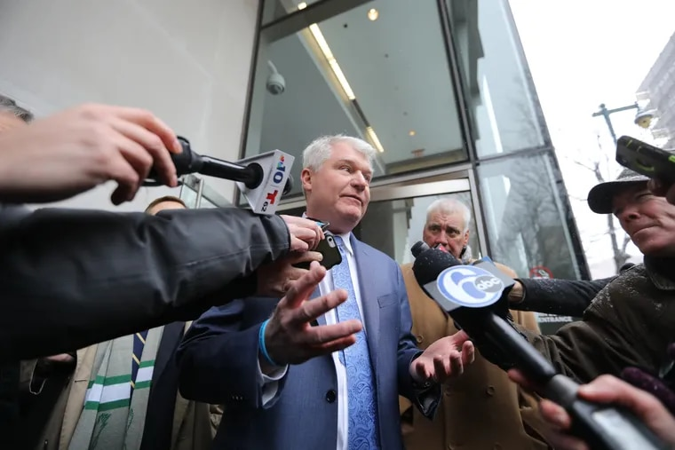 """John """"Johnny Doc"""" Dougherty speaks to reporters after pleading not guilty in his federal embezzlement and conspiracy case."""