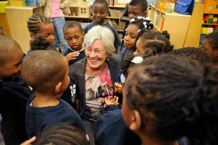 Christine Beck talks with kindergartners at Gesu School in North Philadelphia, which in 1993 became the city's first private Catholic school for low-income children. Beck, 67, joined the school's board in 1996 and became president and chief executive in 2003.