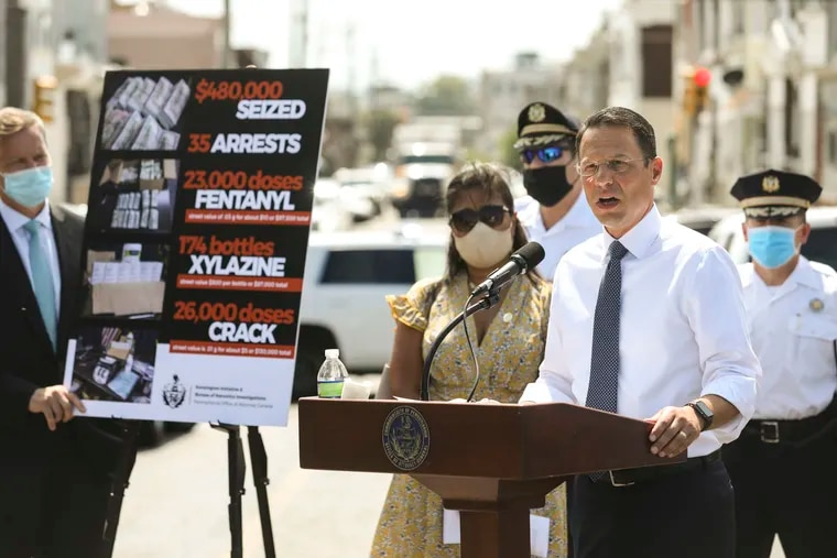 File photo of Pennsylvania Attorney General Josh Shapiro at a news conference about an investigation that lead to arrests in three different drug-trafficking organizations operating in Kensington, at Harrowgate Plaza in Philadelphia, Pa. on Monday, August 24, 2020.