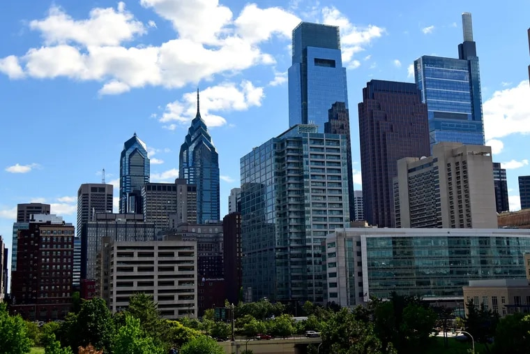 The Center City Philadelphia Skyline is seen from North 15th Street June 12, 2019. Only 12 public companies out of Philly's 100 largest have no women on the board of directors.