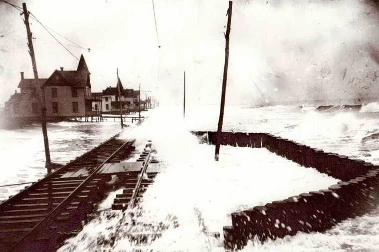 A series of of nameless storms in the early twentieth century destroyed South Cape May. This circa 1909 photo of approximately Thirteenth and Beach Avenues looking east toward Cape May City, shows a glimpse of the torture spree. (Photo courtesy of The Summer City by the Sea, An Illustrated History of Cape May, NJ. by Emil R. Salvini, Rutgers University Press- 1998)