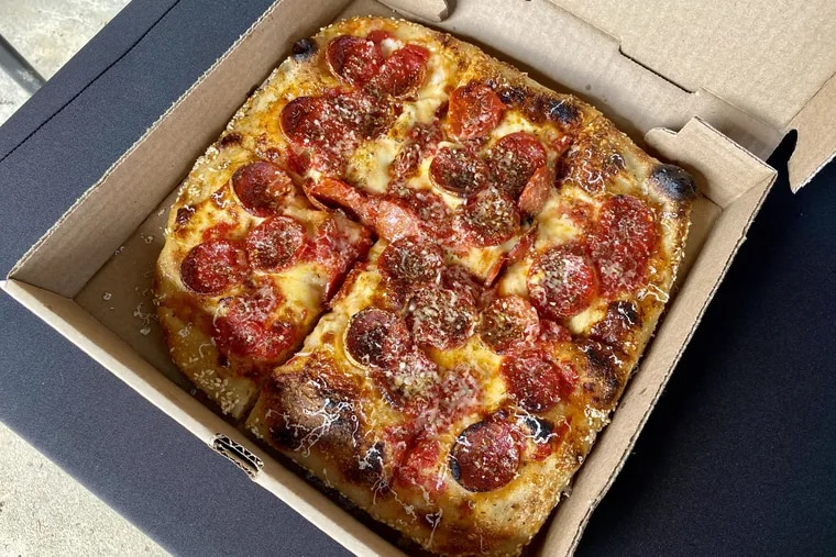A pepperoni Grandma pie from Pizza Jawn.