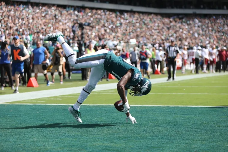 Eagles wide receiver DeSean Jackson (10) celebrates after scoring a touchdown against Washington at Lincoln Financial Field in South Philadelphia on Sunday, Sept. 8, 2019.