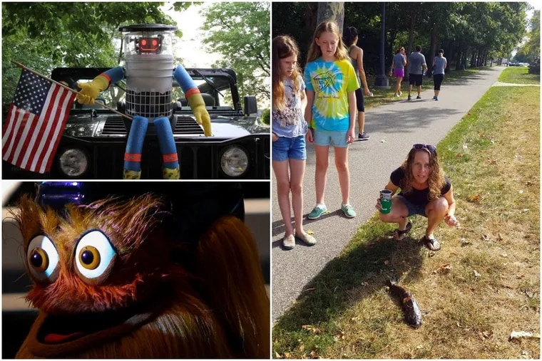 Among the strangest stories of the last decade in Philadelphia, from upper left clockwise, are the murder of hitchBOT; the catfish that rained down from the sky onto a woman's face; and the birth of Gritty.
