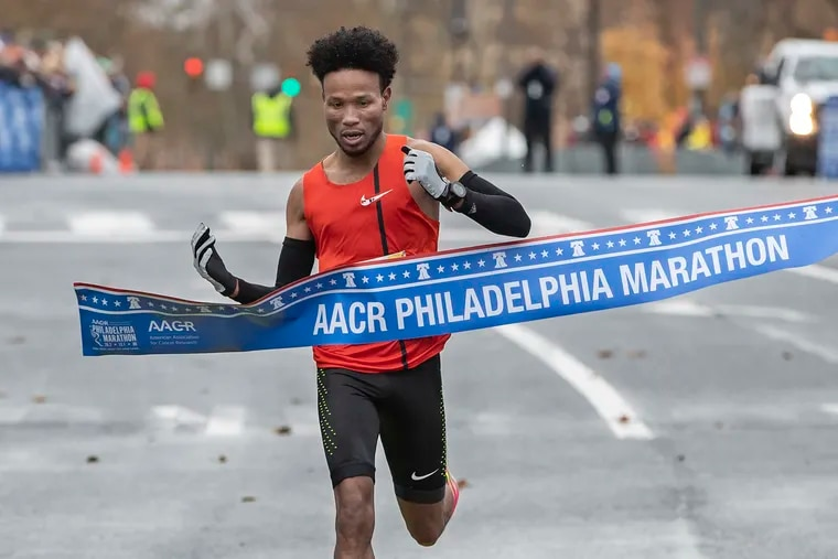 Diriba Degefa Yigezu is the first male runner to cross the finish line on Eakins Oval and win the Philadelphia Marathon with a time of 2:16:30,  on November 24, 2019.