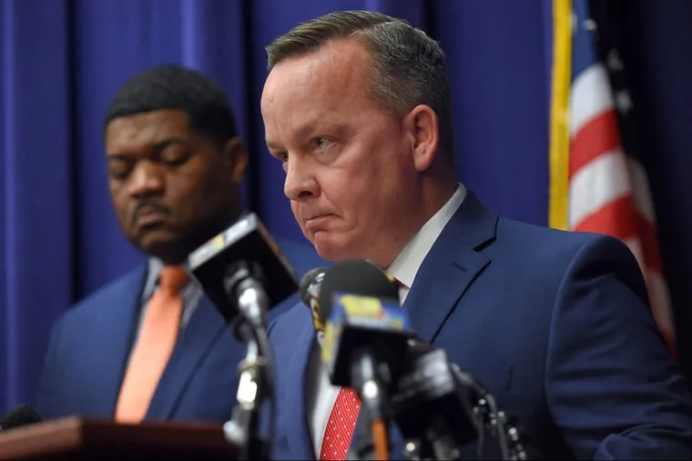 Baltimore City Police Commissioner Kevin Davis at a Dec. 1, 2017, news conference updating information of the investigation into the death of Detective Sean Suiter.