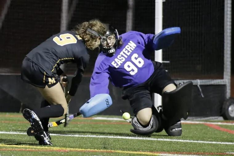 Eastern's goalkeeper Nina Santore makes a save against Moorestown on Nov. 12.