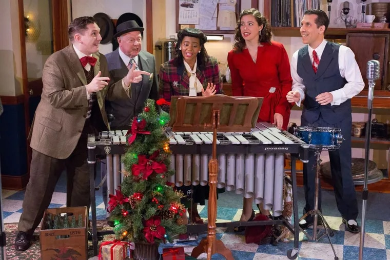 """The cast of """"It's a Wonderful Life: A Live Radio Play,"""" through Dec. 17 at Independence Studios on 3 at the Walnut Street Theatre."""