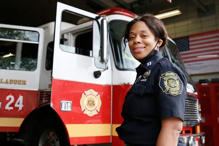 Philadelphia Fire Department Capt. Lisa Forrest will be the first Black woman promoted to battalion chief in the department's history Tuesday. Forrest is pictured here, on one of her last days as a captain at Ladder 24 in West Philadelphia.