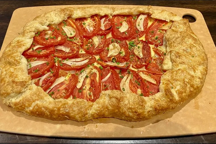 A tomato galette made from roma tomatoes by Abbe Stern from Growtopia Farms.