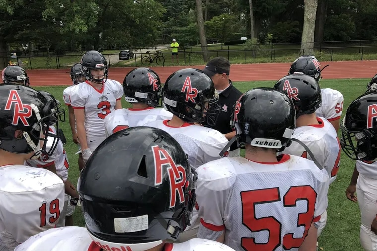 Archbishop Ryan huddles at halftime of its 45-20 nonleague victory over host Springside Chestnut Hill Academy on Sept. 22.