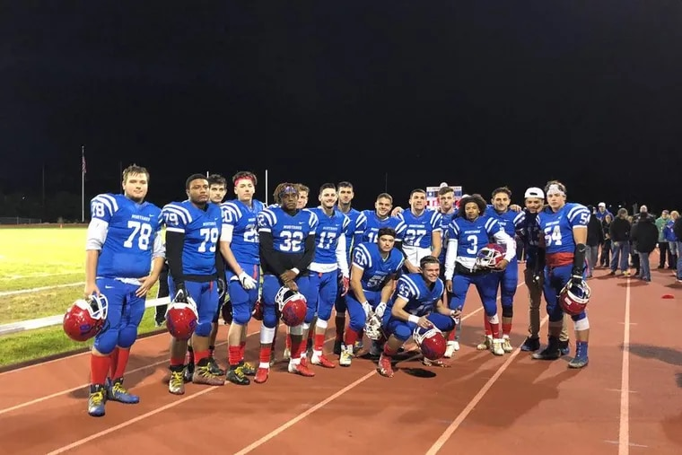 The Triton football team clinched a share of the West Jersey Football League National division Friday for the first time since 2006 in its 31-0 win over Pennsauken.