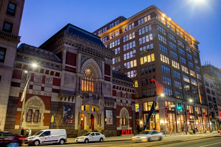 The Gothic revival architecture of the Historic Landmark Building Pennsylvania Academy of the Fine Arts (PAFA, left) and the contemporary Samuel M.V. Hamilton Building (right) at 118-128 N Broad Street photographed Nov. 24, 2019.