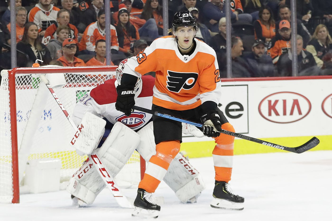 Oskar Lindblom skates with Flyers, says 'being around the boys is the best thing for me'