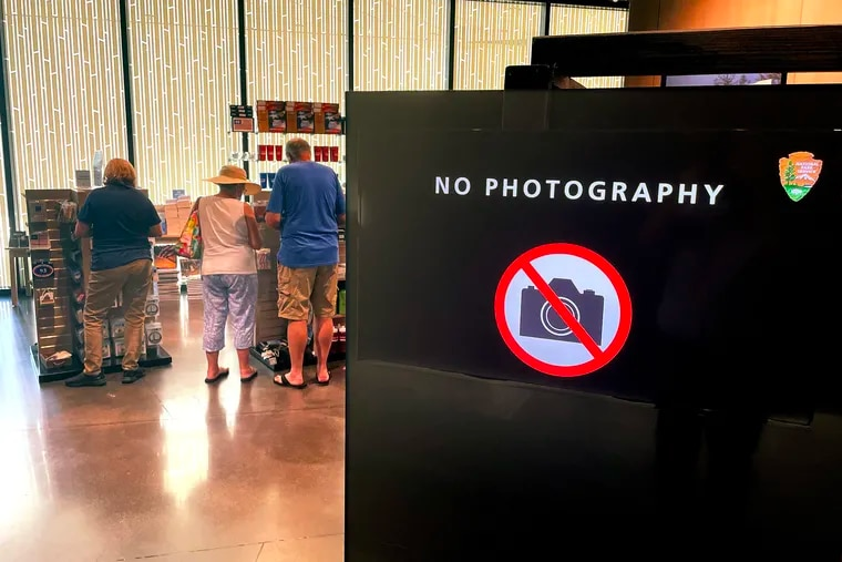 """""""No Photography"""" signs are posted inside the visitor center and gift shop at the Flight 93 National Memorial near Shanksville, Pa.   But not for the reason you might expect."""