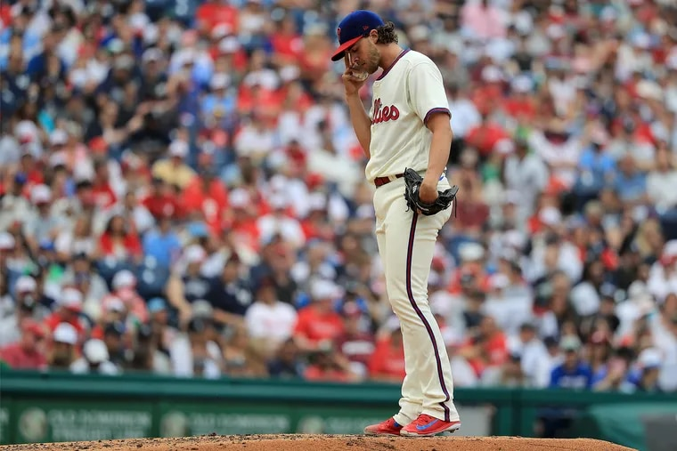 """The Phillies' Aaron Nola, according to Dave Dombrowski, is """"a better pitcher than what he's been pitching recently. He just is."""""""