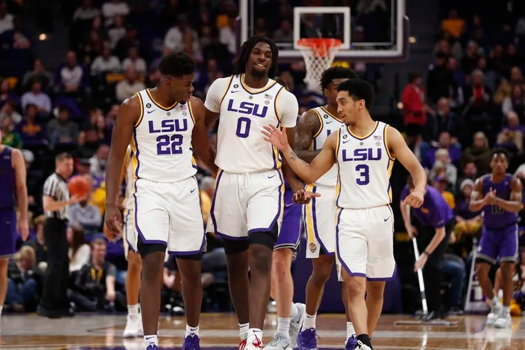 LSU post player Naz Reid (0) is scheduled to work out for the Sixers on Monday.