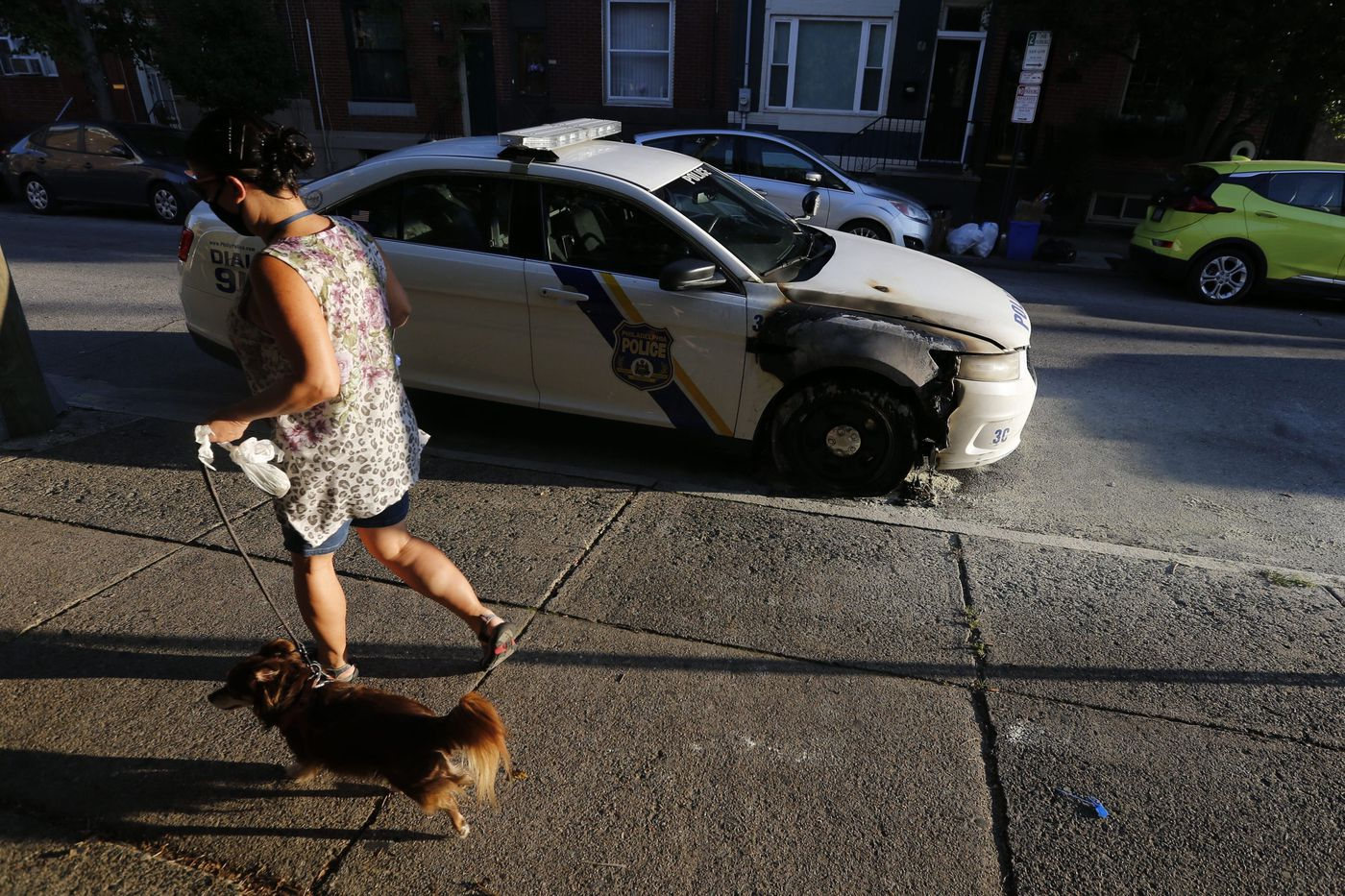 A police car was burned at 11th and Wharton streets in South Philadelphia near the Third District police precinct.