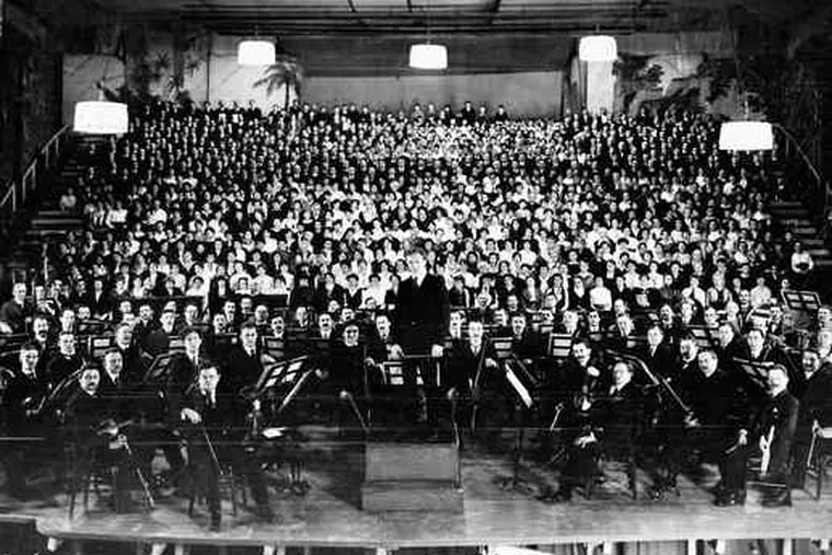 """The American premiere of Mahler's """"Symphony No. 8"""" on March 2, 1916, at the Academy of Music, Leopold Stokowski conducting the orchestra."""